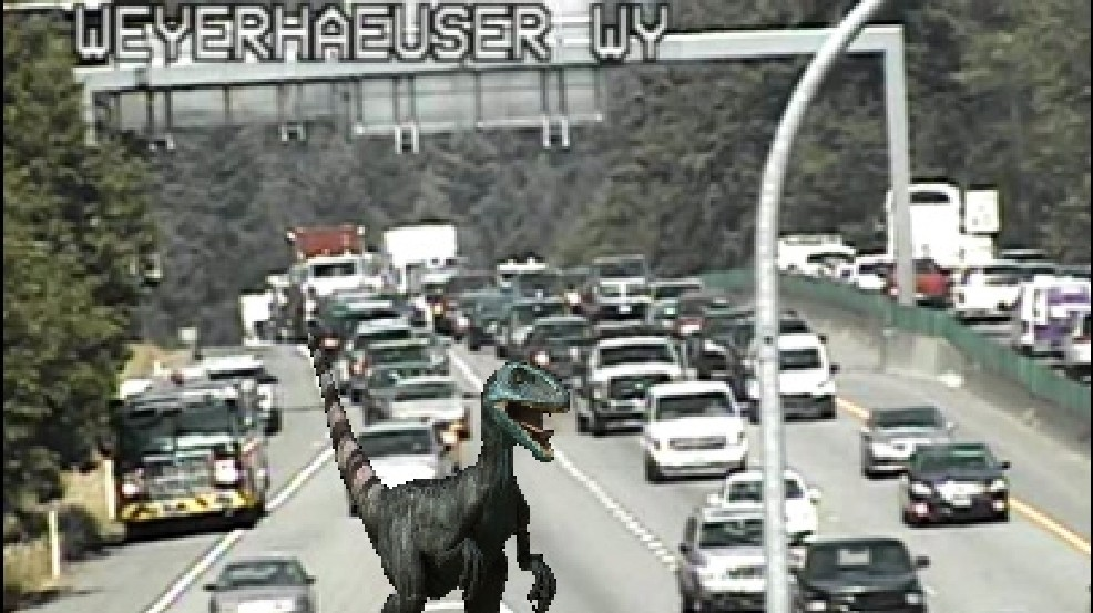 Dinosaurs on Seattle freeways? DOTs have some fun on Twitter