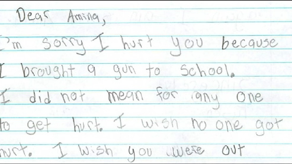 I made a bad choice': Boy writes apology letter to shooting